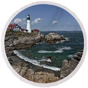 Summer Afternoon, Portland Headlight Round Beach Towel