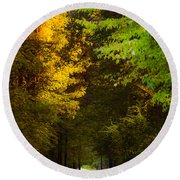 Summer And Fall Collide Round Beach Towel