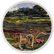 Summer And Horse Statue Round Beach Towel