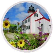 Summer At East Point Light Round Beach Towel