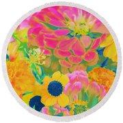Summer Blossoms - Pop Art Round Beach Towel