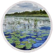 Summer Blue  Lake Under Clody Grey Sky With Forest On Coast Round Beach Towel