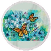 Summer Butterflies Round Beach Towel