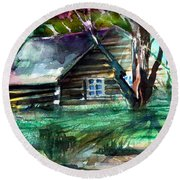 Summer Cabin Round Beach Towel by Mindy Newman