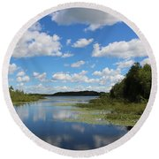 Summer Cloud Reflections On Little Indian Pond In Saint Albans Maine Round Beach Towel