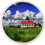 Summer Clouds At East Point Round Beach Towel