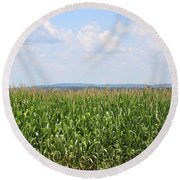 Summer Corn And Blue Skies In Maine  Round Beach Towel