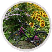 Summer Cycling Round Beach Towel