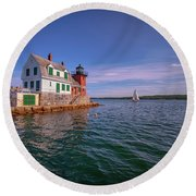 Summer Day At Rockland Breakwater Round Beach Towel
