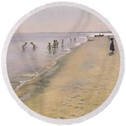 Summer Day At The South Beach Of Skagen Round Beach Towel