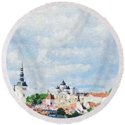 Summer Day In Tallinn Round Beach Towel