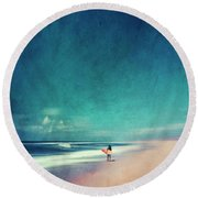 Summer Days - Abstract Seascape With Surfer Round Beach Towel
