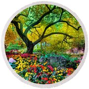 Summer Ends And Autumn Begins Round Beach Towel