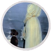 Summer Evening At Skagen Round Beach Towel
