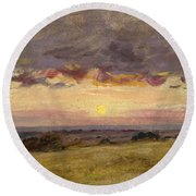 Summer Evening With Storm Clouds Round Beach Towel