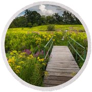 Summer Field Of Wildflowers Round Beach Towel