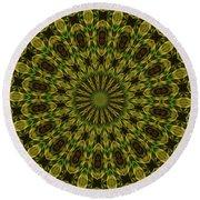 10696 Summer Fire Mask 54 Kaleidoscope 1 Round Beach Towel