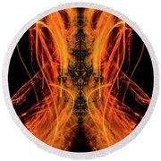 10658 Summer Fire Mask 58 - Dance Of The Fire Queen Round Beach Towel