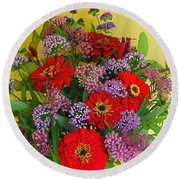 Summer Flower Bouquet Round Beach Towel