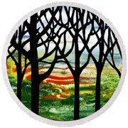 Summer Forest Abstract  Round Beach Towel