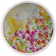 Summer Fragrance Abstract Painting Round Beach Towel by Julia Apostolova