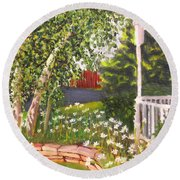 Summer Garden Round Beach Towel
