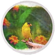 Summer Goldfinch - Digital Paint 4 Round Beach Towel