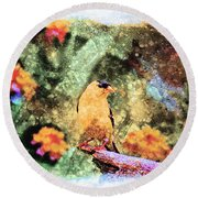 Summer Goldfinch - Digital Paint 5 Round Beach Towel