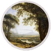Summer Harvest On Caserta Plain Round Beach Towel