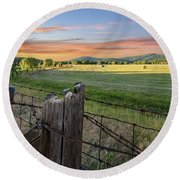 Summer Hay Bales  Round Beach Towel