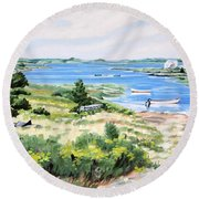 Summer In Lunenburg Harbour Round Beach Towel