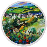 Summer In Rochehaut Round Beach Towel