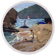Summer In Spain Round Beach Towel