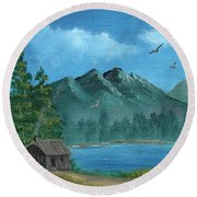 Summer In The Mountains Round Beach Towel