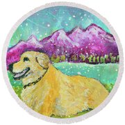 Summer In The Mountains With Summer Snow Round Beach Towel