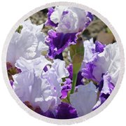 Summer Iris Garden Art Print White Purple Irises Flowers Baslee Troutman Round Beach Towel