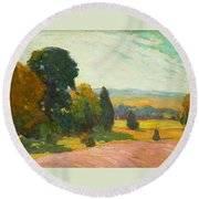 Summer Landscape By John William Beatty Round Beach Towel
