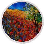 Summer Landscape With Poppies  Round Beach Towel