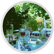 Summer Lunch Remembered Round Beach Towel