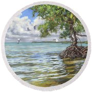 Summer Mangrove Melody Round Beach Towel