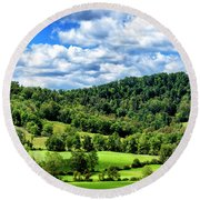 Summer Morning Meadow And Ridge Round Beach Towel