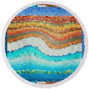 Summer Mosaic Round Beach Towel