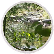 Summer Mountain Creek Round Beach Towel