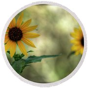 Summer Of Sunflowers  Round Beach Towel