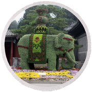 Summer Palace Elephant Round Beach Towel