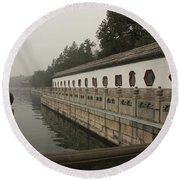 Summer Palace Pond With Ornate Balustrades Round Beach Towel