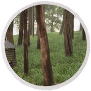 Summer Palace Trees And Lamp Round Beach Towel