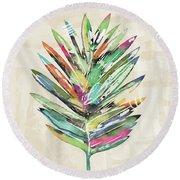 Summer Palm Leaf- Art By Linda Woods Round Beach Towel by Linda Woods