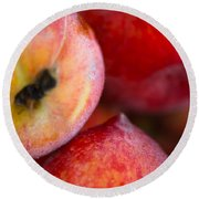 Summer Peaches Round Beach Towel