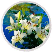 Summer Pond French Lilies Round Beach Towel